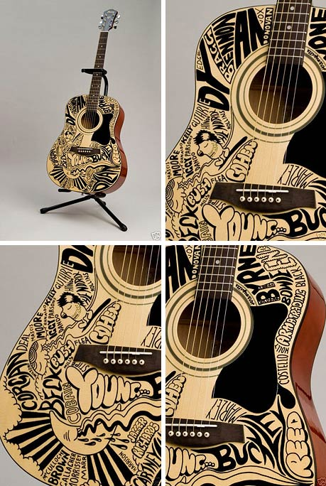 Guitar art and decoration pixelated for Acoustic guitar decoration ideas
